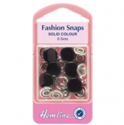 Hemline Black Top Fashion Snaps - 11mm